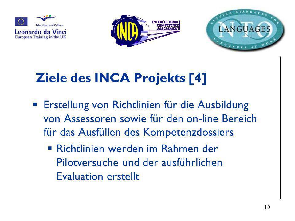 Ziele des INCA Projekts [4]